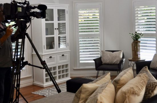 Sydney Weekender cameraman in Diggers Beach Cottage living room for Coffs Harbour feature