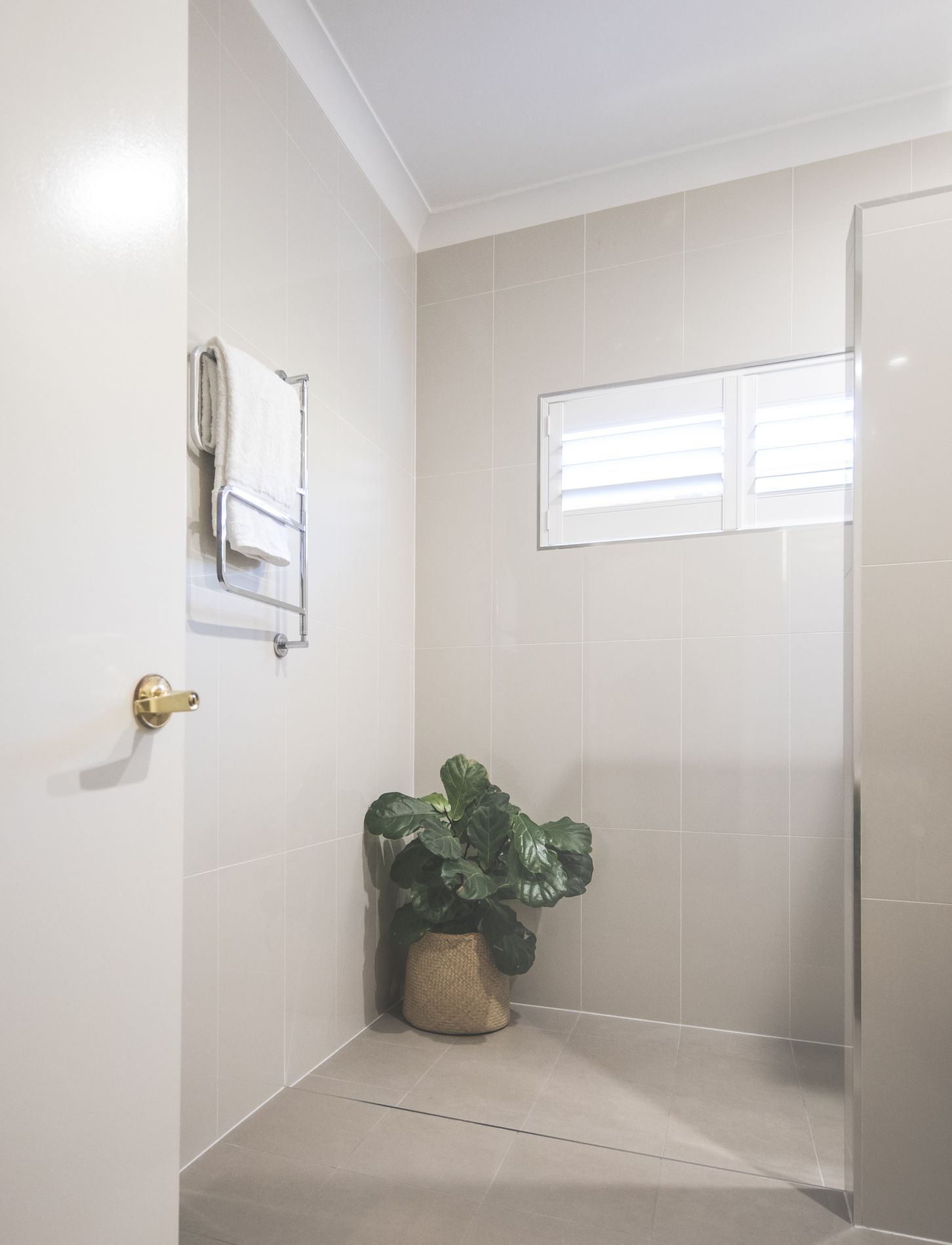 Bathroom with a fiddle leaf fig pot plant in the shower and towel warmer on wall
